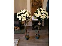 Wedding decorations - 2 rose trees, light up love light, decorated jam jars and Mr and Mrs sign!
