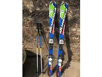 Children's Nordica 130cm ski's & 1m poles. Great condition
