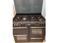 Range Gas Cooker - Belling - 2 ovens (1 fan assisted), 1 grill, 7 rings - black - freestanding