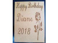 Unique laser engraved birthday cards