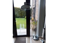 Free standing modern chrome floor lamp. Excellent condition