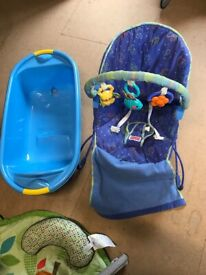 5 x baby items: highchair, bouncy chair, floor activity gym, bath, changing mat