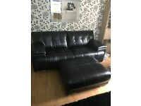 Three seater, arm chair and large footstool