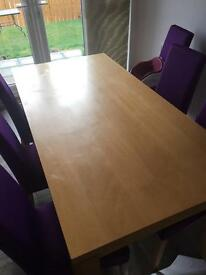 Large dining table with 6 leather chairs
