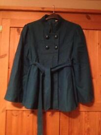 Teal colour swing coat