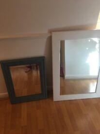 Repainted Retro Mirror - Blue vintage chalk paint