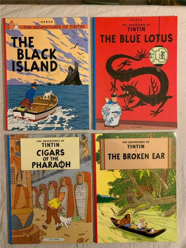 Lot 4 The Adventures of Tintin Herge Paperback VERY GOOD CONDITION!