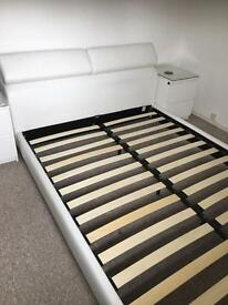 King Size White Leather (PVC) Bed