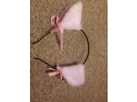 White and Pink Cat Ears
