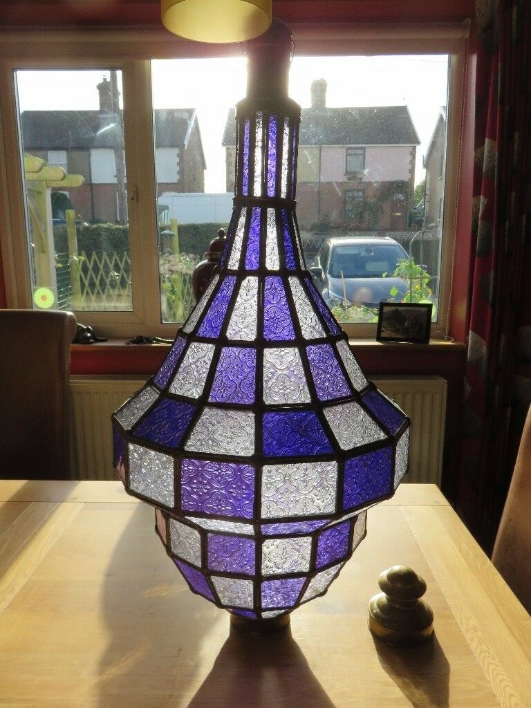Unique Large Cut Glass Moroccan Lamp/chandelier, Heavy, Purple and brass,Beautiful display item