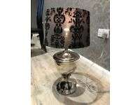 Silver/Chrome lamp with black shade