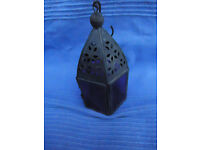Second hand small 'lantern' candle holder – purple Moroccan-style