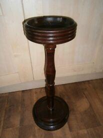 Vintage Wooden Small Column Pedestal Plant Stand