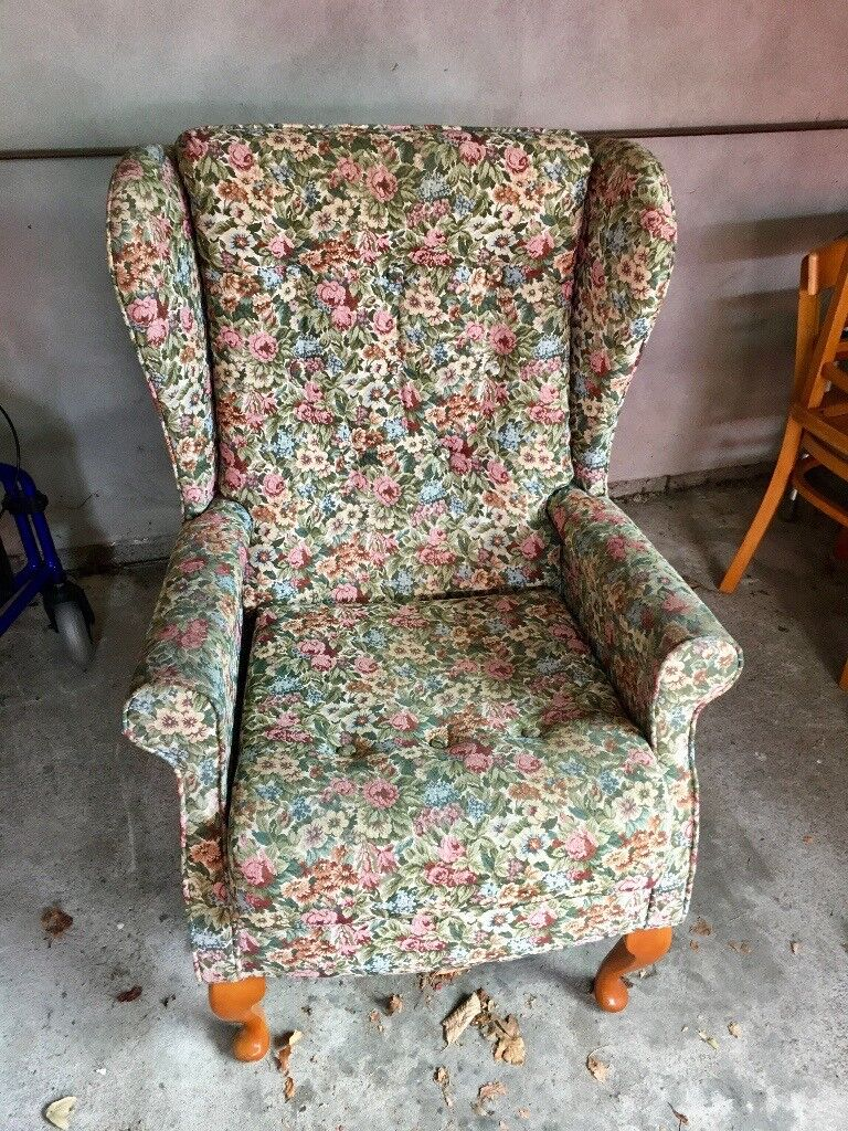 Solid Floral arm chair - great condition