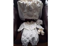 Boys Christening Outfit. Ivory satin.