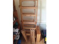 Wooden bed frame - solid wood with wooden slats and draws