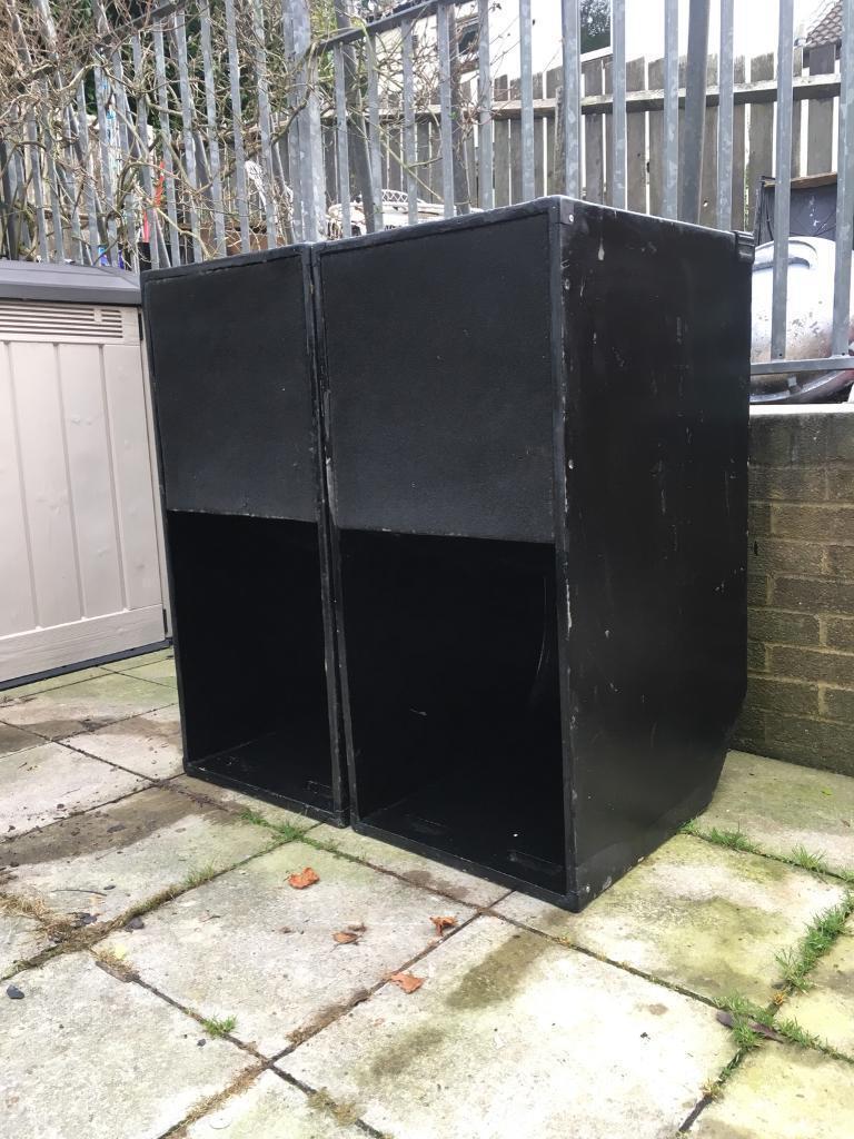 "PAIR OF UNLOADED 15"" Mini Scoop Bass bins subwoofer boxes ... |Scoop Bass Bins"