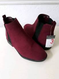 Primark Burgundy Chelse Ankke BOOTS  Suede effect  Size 3