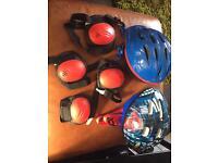 Kids bike helmets x2 and knee, elbow pads spiderman