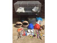 Guinea pig cage and stand plus other accessories