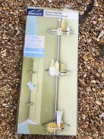In box extendable bathroom shelf