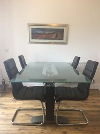 Glass Dining Table 180cm x 100cm & 4 Leather Chairs SOLD
