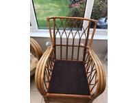 Three Piece Bamboo/Wicker Suite Including Foot Rest