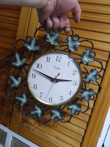 ancienne pendule clock uhr horloge murale art deco design 70 39 s vedette ebay. Black Bedroom Furniture Sets. Home Design Ideas