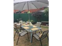 Garden patio furniture big table 4 chairs 4 place mats