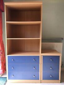3 Drawer Unit with Shelves & Bedside set of 3 Drawers