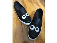 Schuh black awesome eyes flat shoes size 6