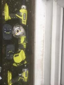 Ryobi one 18v Drill, Grinder and Impact driver
