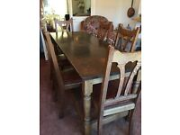 Antique refectory oak table with 6 chairs and 2 carvers