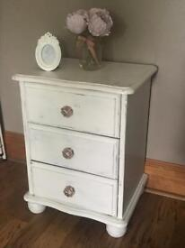 Shabby Chic Pretty Bedside Drawers Solid Wood