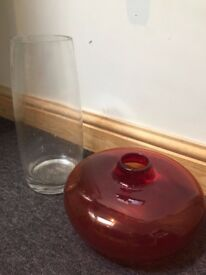 2 large vase red / clear