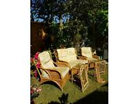 County cane Large bamboo wicker rattan conservatory set