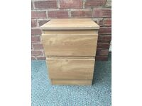 Filing Cabinet - Oak Effect - Two Drawer unit - Dimensions H 50cm x W 34cm x D 41cm