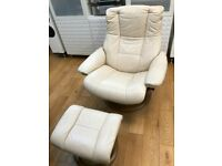 Ekornes Stressless Leather Large Recliner Armchair with Footstool