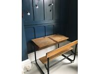 Vintage lidded double school desk with seat
