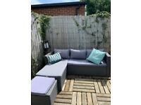 Grey corner rattan sofa with storage