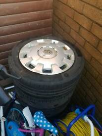 "5 stud 15"" Vauxhall wheels with wheel trims"