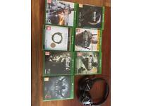 Xbox one games and turtle beach headset.