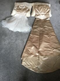 Bridesmaid size 10 and flower girl age 2 - 3 Matching satin light beige by Spanish Designer Beromia