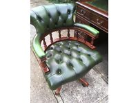 CHESTERFIELD OFFICE CHAIR GREEN LEATHER HEIGHT ADJUSTABLE