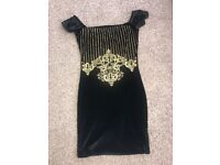 Boohoo Black and gold dress size 6