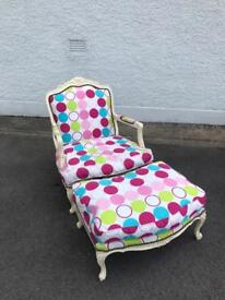 Spotty Throne Chair with stool