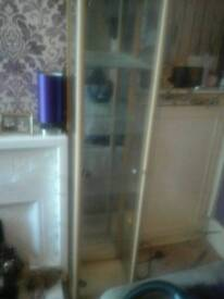 Solid beech glass display cabinet