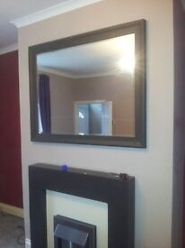 LARGE MIRROR WITH FRAME 106cm x 134cm X 4.5cm DEEP,FRAME PAINTED BROWN BUT CAN BE REPAINTED