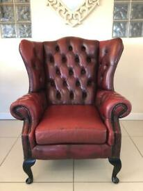 STUNNING CHESTERFIELD QUEEN ANNE CHAIR FULLY BUTTONED WINGS - OXBLOOD LEATHER