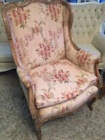 Two Matching Ornate Louis French Armchairs